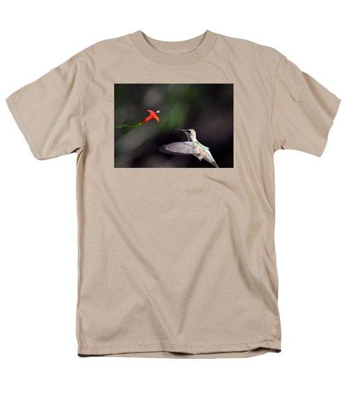 Hummingbird And Cardinal Climber Men's T-Shirt  (Regular Fit) by Kathy Eickenberg