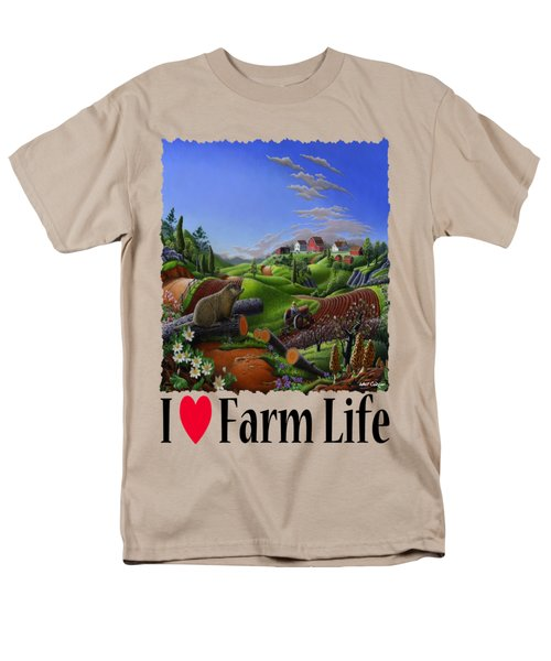 I Love Farm Life - Groundhog - Spring In Appalachia - Rural Farm Landscape Men's T-Shirt  (Regular Fit) by Walt Curlee