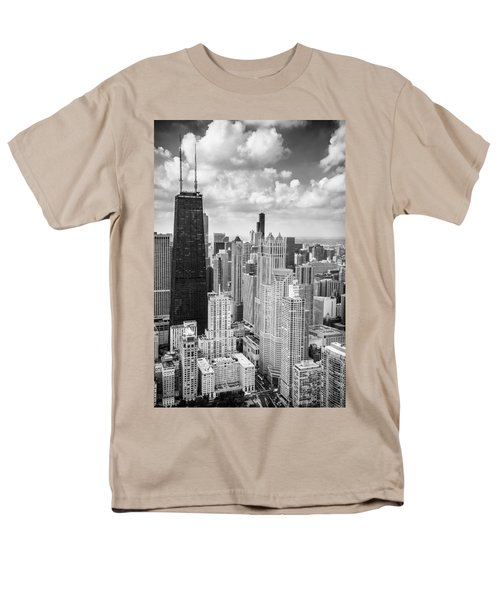 John Hancock Building In The Gold Coast Black And White Men's T-Shirt  (Regular Fit) by Adam Romanowicz