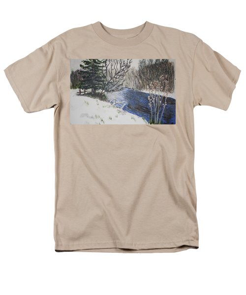 Men's T-Shirt  (Regular Fit) featuring the painting Johnson Vermont In Spring Snow Storm by Donna Walsh