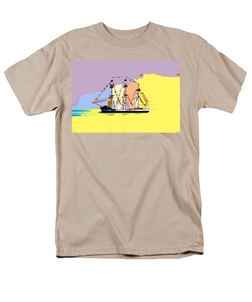 Men's T-Shirt  (Regular Fit) featuring the painting Jose Gasparilla Sailing Colorful Tampa Bay by David Lee Thompson