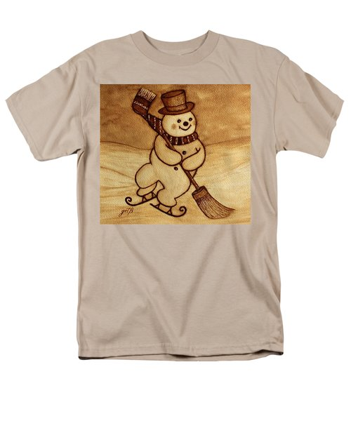 Men's T-Shirt  (Regular Fit) featuring the painting Joyful Snowman  Coffee Paintings by Georgeta  Blanaru