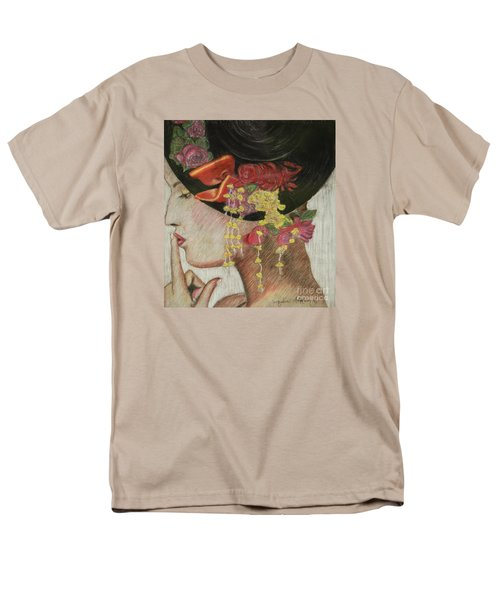 Men's T-Shirt  (Regular Fit) featuring the drawing Lady With Hat by Jacqueline Athmann