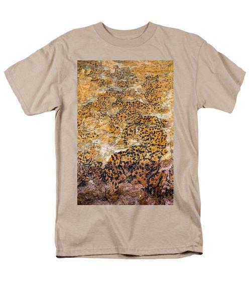 Men's T-Shirt  (Regular Fit) featuring the photograph Lichen Abstract, Bhimbetka, 2016 by Hitendra SINKAR