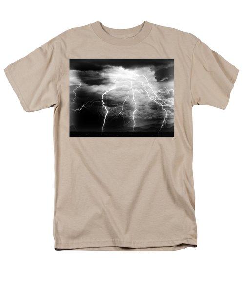Men's T-Shirt  (Regular Fit) featuring the photograph Lightning Storm Over The Plains by Joseph Frank Baraba