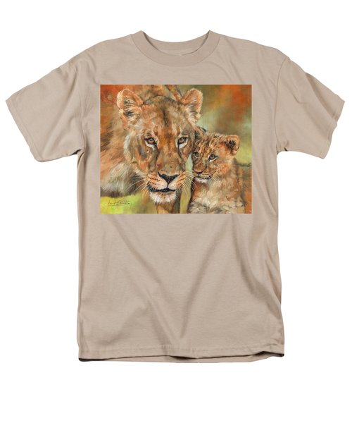 Men's T-Shirt  (Regular Fit) featuring the painting Lioness And Cub by David Stribbling