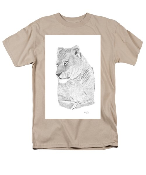 Men's T-Shirt  (Regular Fit) featuring the drawing Lioness by Patricia Hiltz