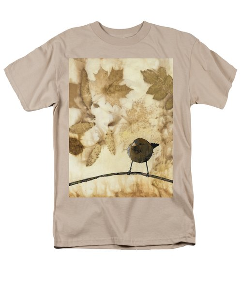 Little Bird On Silk With Leaves Men's T-Shirt  (Regular Fit) by Carolyn Doe