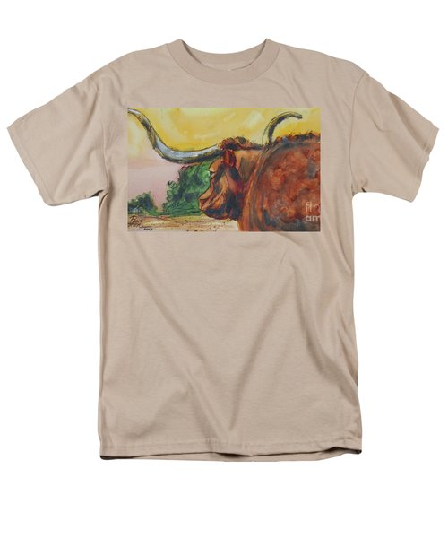 Men's T-Shirt  (Regular Fit) featuring the painting Lonesome Longhorn by Ron Stephens