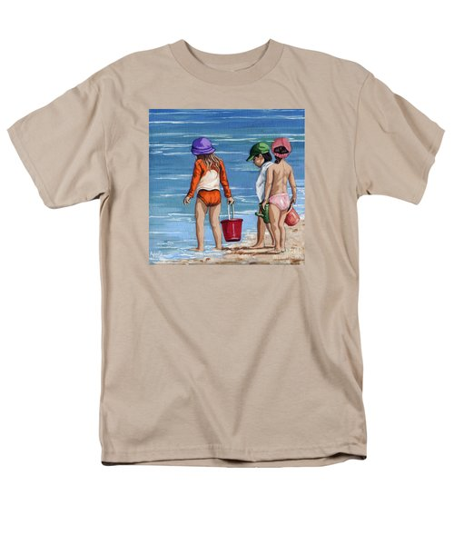 Looking For Seashells Children On The Beach Figurative Original Painting Men's T-Shirt  (Regular Fit) by Linda Apple