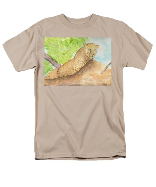 Men's T-Shirt  (Regular Fit) featuring the painting Lounging Leopard by Vicki  Housel