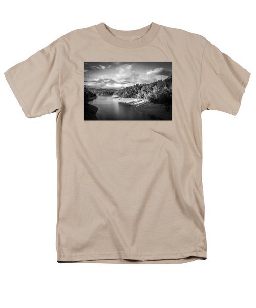 Men's T-Shirt  (Regular Fit) featuring the photograph Low Sun Across The Nantahala River As The Clouds Clear Away by Kelly Hazel