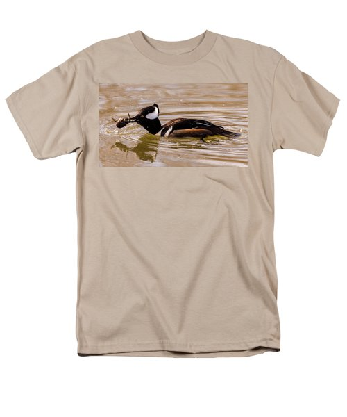 Men's T-Shirt  (Regular Fit) featuring the photograph Lunchtime For The Hooded Merganser by Randy Scherkenbach