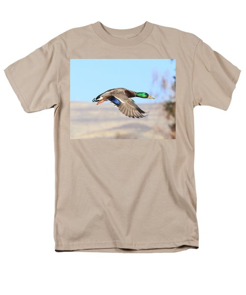 Mallard Flying Over Men's T-Shirt  (Regular Fit) by Lynn Hopwood