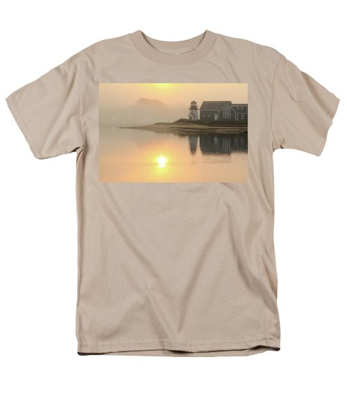 Men's T-Shirt  (Regular Fit) featuring the photograph Misty Morning Hyannis Harbor Lighthouse by Roupen  Baker