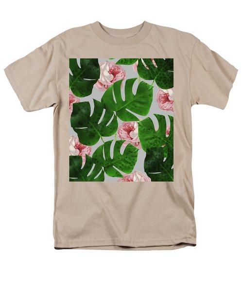 Monstera Rose Pattern Men's T-Shirt  (Regular Fit) by Uma Gokhale