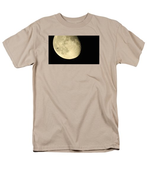 Moon And Plane Over Sanibel Men's T-Shirt  (Regular Fit) by Melinda Saminski