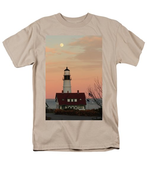 Moon Over Portland Head Lighthouse Men's T-Shirt  (Regular Fit) by Lou Ford