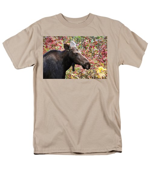 Men's T-Shirt  (Regular Fit) featuring the photograph Moose And Fall Leaves by Peggy Collins
