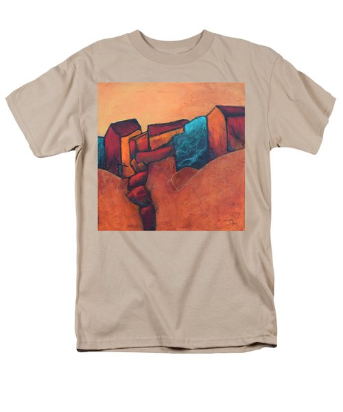 Men's T-Shirt  (Regular Fit) featuring the painting Mountain Village by Nancy Jolley