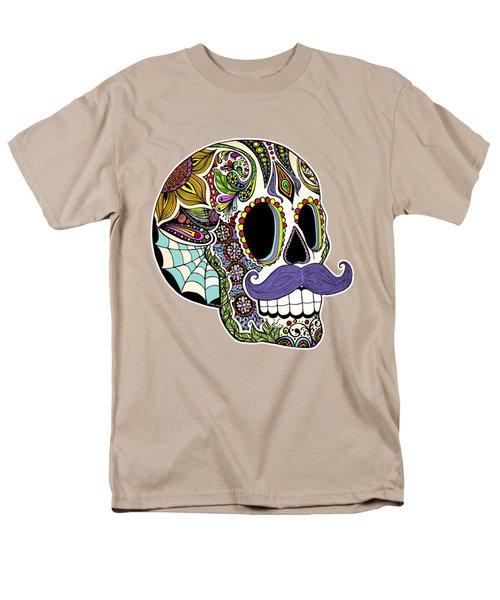 Mustache Sugar Skull Vintage Style Men's T-Shirt  (Regular Fit)