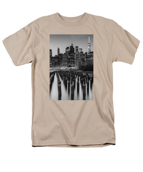 Men's T-Shirt  (Regular Fit) featuring the photograph Nyc Skyline Bw by Laura Fasulo