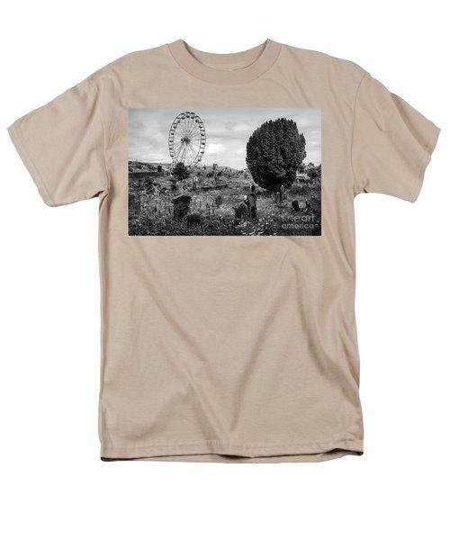 Old Glenarm Cemetery And Big Wheel Bw Men's T-Shirt  (Regular Fit) by RicardMN Photography