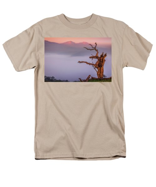 Old Oak And Mt. Diablo On A Foggy Morning Men's T-Shirt  (Regular Fit) by Marc Crumpler