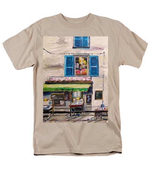 Men's T-Shirt  (Regular Fit) featuring the painting Old Town Cafe by John Williams