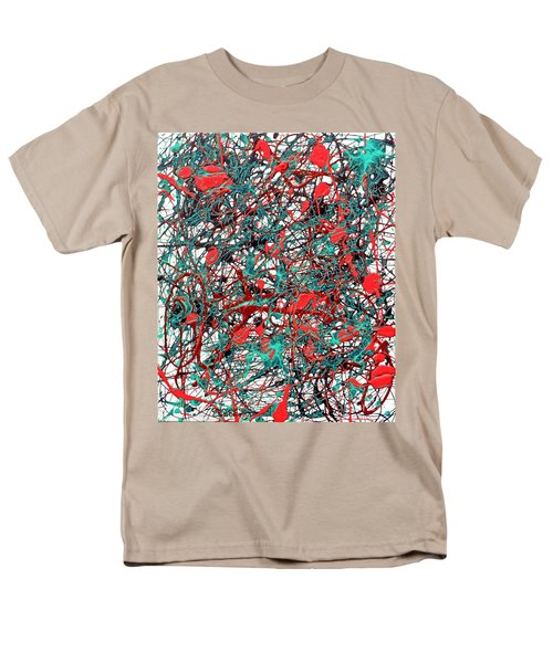 Men's T-Shirt  (Regular Fit) featuring the painting Orange Turquoise Drip Abstract by Genevieve Esson