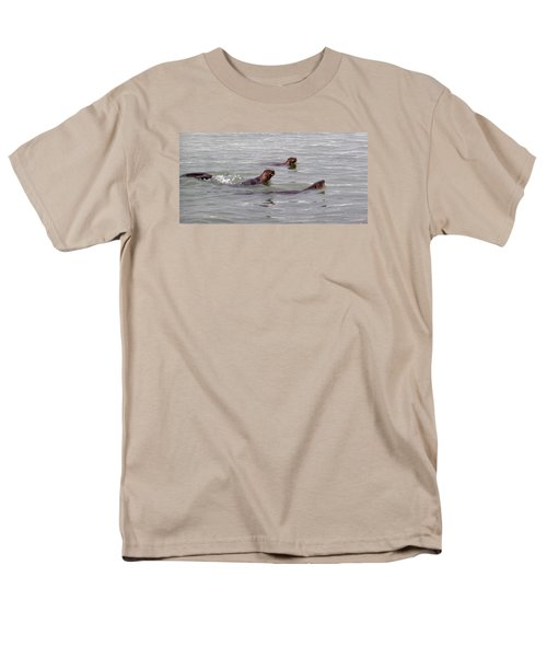 Otters Swimming Men's T-Shirt  (Regular Fit) by Karen Molenaar Terrell
