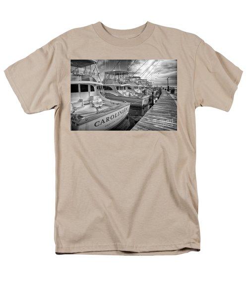 Outer Banks Fishing Boats Waiting Bw Men's T-Shirt  (Regular Fit) by Dan Carmichael