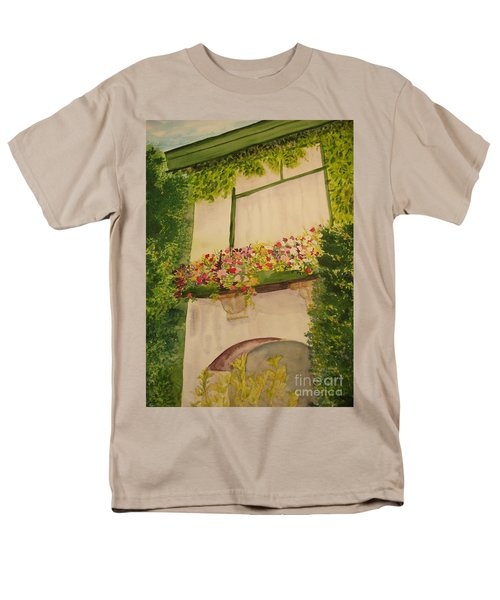 Men's T-Shirt  (Regular Fit) featuring the painting Overlooking Butchard Gardens  by Vicki  Housel