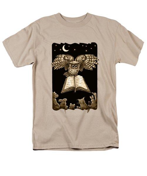 Owl And Friends Sepia Men's T-Shirt  (Regular Fit) by Retta Stephenson