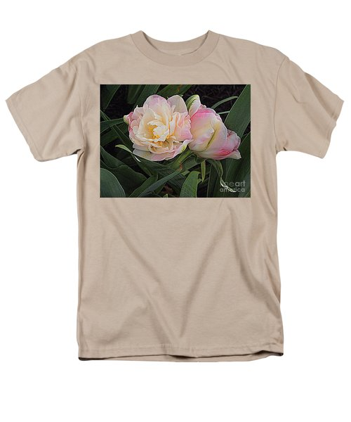 Men's T-Shirt  (Regular Fit) featuring the photograph Peony Tulip Duet by Nancy Kane Chapman
