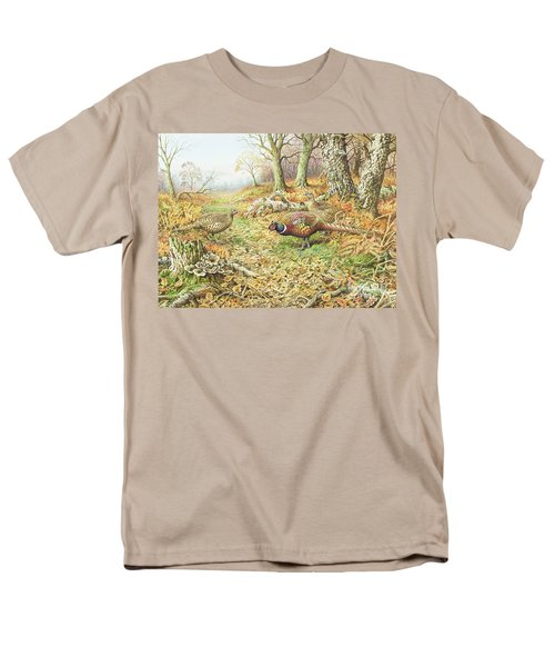 Pheasants With Blue Tits Men's T-Shirt  (Regular Fit) by Carl Donner