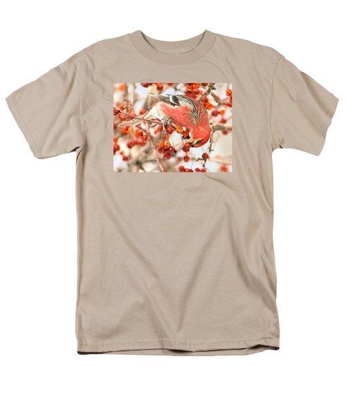 Men's T-Shirt  (Regular Fit) featuring the photograph Pine Grosbeak by Debbie Stahre
