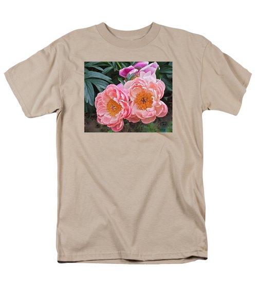 Pink Duo Peony Men's T-Shirt  (Regular Fit) by Janis Nussbaum Senungetuk