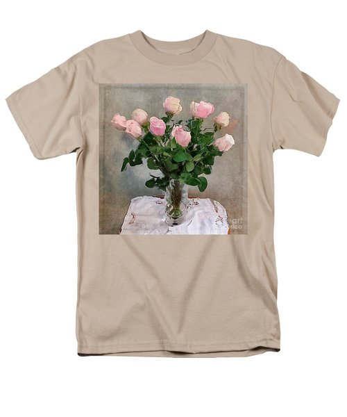 Men's T-Shirt  (Regular Fit) featuring the digital art Pink Roses by Alexis Rotella