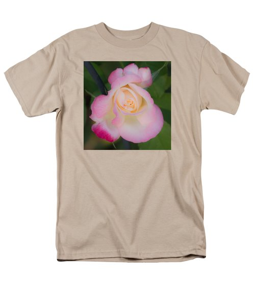 Men's T-Shirt  (Regular Fit) featuring the photograph Pink Tinged Rose by Cathy Donohoue
