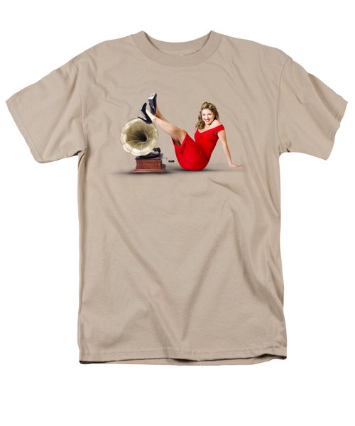 Pinup Girl In Red Dress Playing Classical Music Men's T-Shirt  (Regular Fit) by Jorgo Photography - Wall Art Gallery