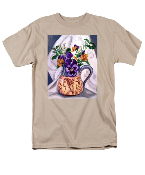 Men's T-Shirt  (Regular Fit) featuring the painting Pitcher Of Pansies by Laura Aceto