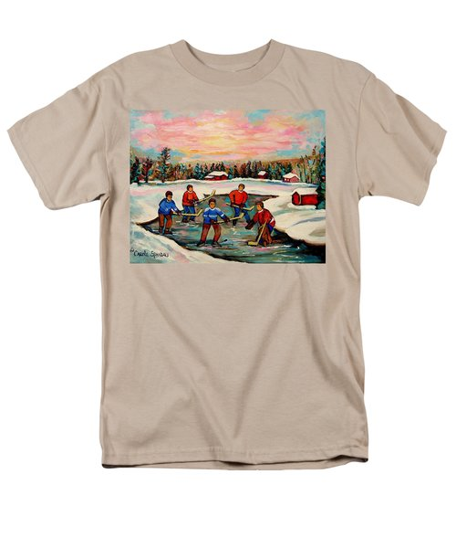Pond Hockey Countryscene Men's T-Shirt  (Regular Fit) by Carole Spandau