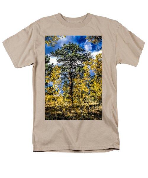 Ponderosa  Tree In The Aspens Of Fall Colorado Men's T-Shirt  (Regular Fit) by John Brink