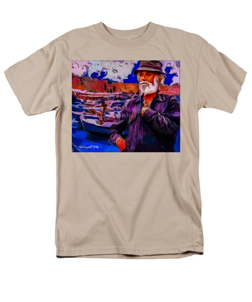 Men's T-Shirt  (Regular Fit) featuring the painting Portrait Of A Fisherman by Ted Azriel