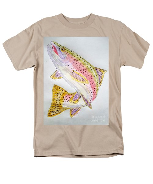 Rainbow Trout Presented In Colored Pencil Men's T-Shirt  (Regular Fit) by Scott D Van Osdol