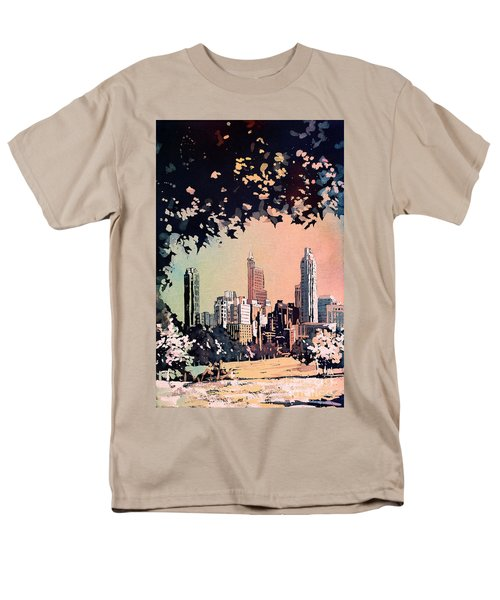 Men's T-Shirt  (Regular Fit) featuring the painting Raleigh Skyline V by Ryan Fox