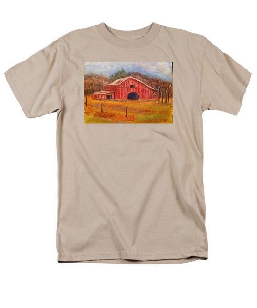 Men's T-Shirt  (Regular Fit) featuring the painting Red Barn Painting by Belinda Lawson