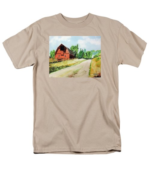 Men's T-Shirt  (Regular Fit) featuring the painting Red Barn Near Steamboat Springs by Tom Riggs