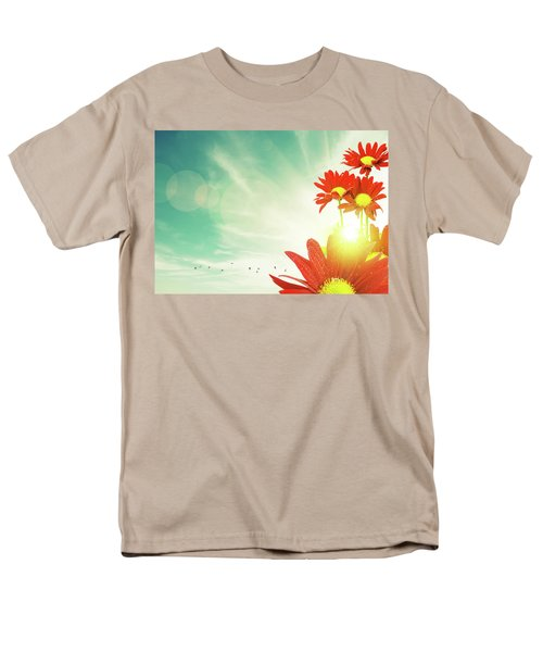 Men's T-Shirt  (Regular Fit) featuring the photograph Red Flowers Spring by Carlos Caetano